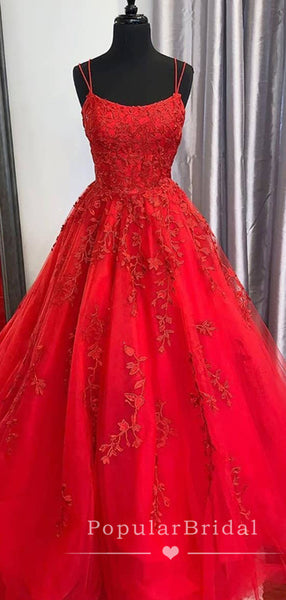 New Arrival A-Line Spaghetti Straps Cross Back Tulle Red Long Prom Dresses With Lace,POPD0003