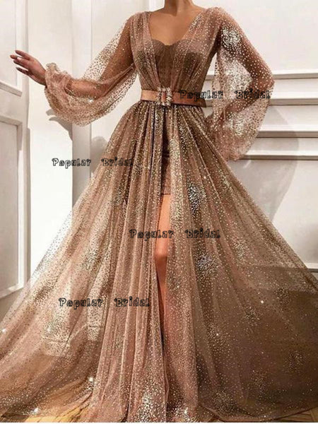 Two Piece Long Sleeves Prom Dresses ,Cheap Prom Dresses,PDY0619
