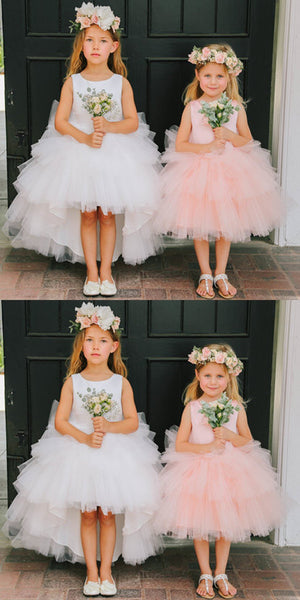 Round Neckline Hi-line Tulle Pixie Tutu Dresses, Cheap Flower Girl Dresses, FG015