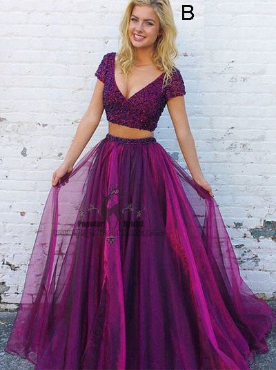 Cap Sleeve Beaded 2 pieces Tulle Pretty Prom Dresses f2aeec9ddfab