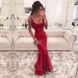Simple Design Strap Red Mermaid Satin Prom Dresses, Newest Prom Dresses, Evening Dresses, BG0380
