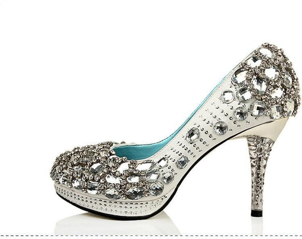 High Heels Handmade Rhinestone Pointed Toe Crystal Wedding Shoes, S026