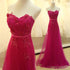 Sweetheart Hop Pink Appliques Beaded Long A-line Simple Tulle Prom Dresses, BG0302