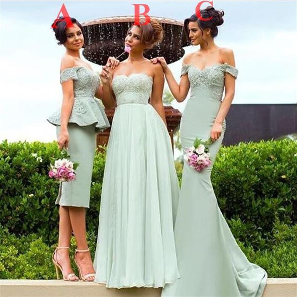 Mismatched Lace Beaded Wedding Party Guest Bridesmaid Prom Dresses, BG0303