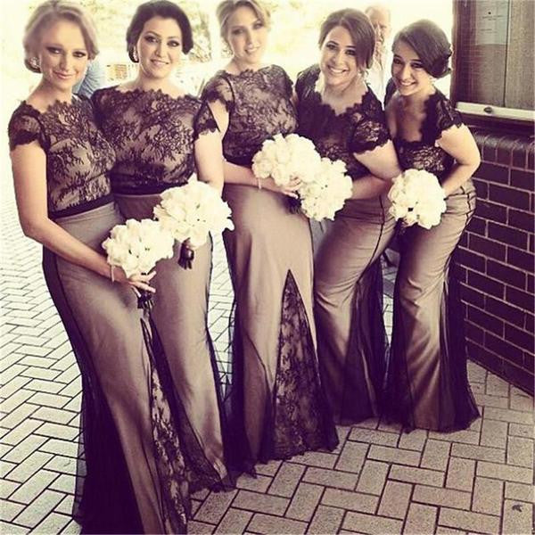 Mismatched Black Lace Top Long Sheath Tulle Bridesmaid Prom Dresses, BG0305