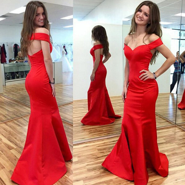 Off Shoulder Red Satin Long Mermaid Sexy Unique Design Long Prom Dresses, BG0307