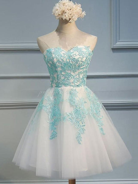 Sweetheart A-line Appliqued Tulle Homecoming dresses, Princess Short Ball Dress, EPR0004
