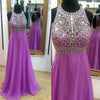 Round Neck Open Back Rhinestone Top Beaded Long A-line Purple Chiffon Prom Dresses, BG0308