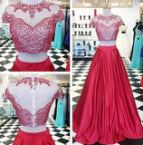 Round Neck Red Beaded Two Pieces Long A-line Satin Prom Dresses, BG0309