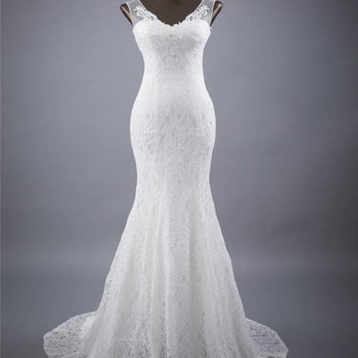 Elegant V-neck Lace Mermaid Wedding Party Dresses, Vantage Bridal Gown, BG0176