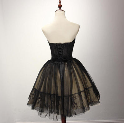 Black See Through Tulle Lace Elegant Homecoming Dresses With Belt, Little Black Dresses, HD031