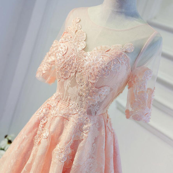 See Through Lace Half Sleeve Elegant Beaded  Knee Length Homecoming Dresses, HD060