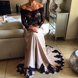 Off Shoulder Black Lace Top Long Sleeve Sheer Long A-line Prom Dresses, BG0310