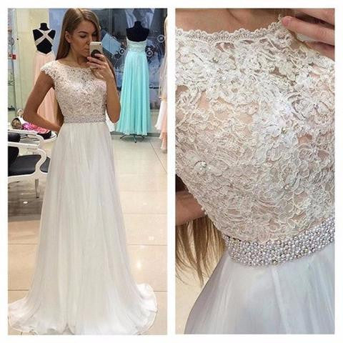 Round Neck White Lace Chiffon Beaded Belt Long A-line Prom Dresses, BG0312
