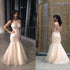 Ivory Lace Beaded Long Mermaid Scoop Neckline Sheer Tulle Prom Dresses, BG0314