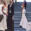 Simple Design Sweetheart Long Mermaid White Jersey Prom Bridesmaid Dresses, BG0315