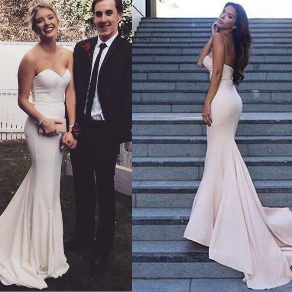 0380d0d9b0a Simple Design Sweetheart Long Mermaid White Jersey Prom Bridesmaid Dresses
