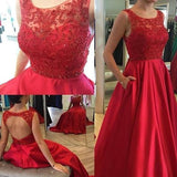 Round Neck Red Lace Satin Beaded Long A-line Open Back Prom Dresses, BG0316