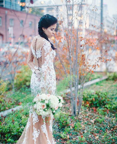Round Neck Long Sleeve See Through White Lace Long Mermaid Prom Wedding Dresses, BG0317
