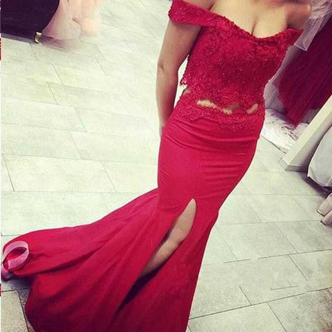 Off Shoulder Red Lace Two Pieces Sexy Mermaid Side Slit Prom Dresses, BG0319