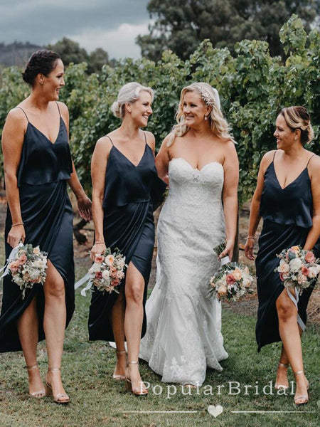 A-Line V-Neck Spaghetti Straps Black Bridesmaid Dresses With Slit,POWG0031