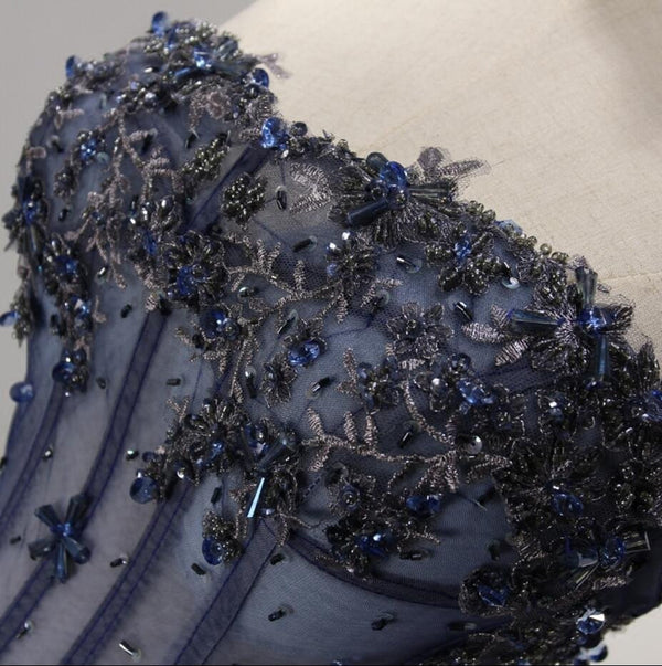 Sweetheart Lace Beaded See Through Blue Tulle Lace Up Homecoming Dresses, HD032