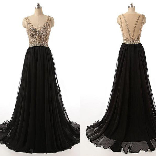 Rhinestone Top Sheer Long A-lien Black Chiffon Long Prom Dresses, BG0323