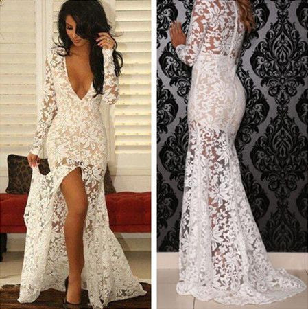 Deep V-Neck Long Sleeve See Through White Lace Front Slit Sexy Prom Dresses, BG0325