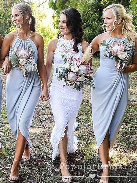 Mermaid Halter Light Blue Chiffon Tea Length Bridesmaid Dresses With Pleats,POWG0032
