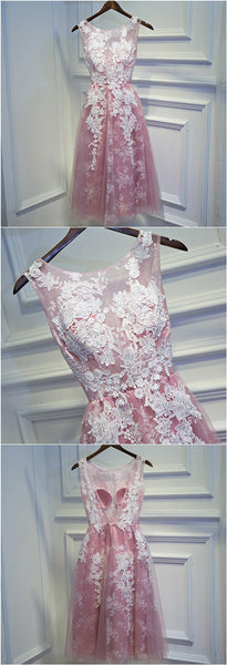 Scoop Neckline Pink Tulle White Lace A-line Cute V-back Homecoming Dresses, HD033