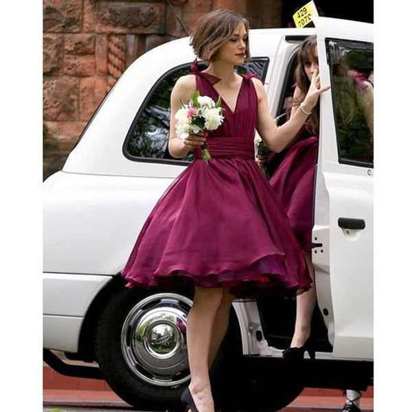 V-neck Maroon Chiffon Simple Design Pretty Short Bridesmaid Dresses For Wedding Party, BG0330