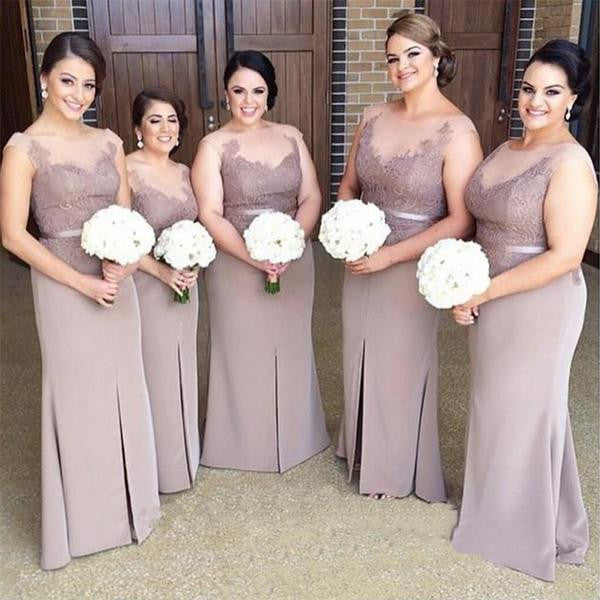 2017 Lace Sheer Top Long Sheath Soft Satin Front Slit Long Bridesmaid Dresses, BG0332