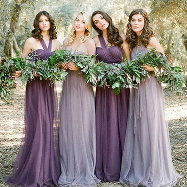 Convertible Mismatched Tulle Long Wedding Party Dresses Cheap Charming Bridesmaid Dresses, BG0047