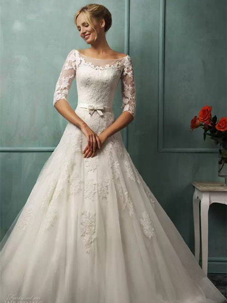 Bateau Illusion Half-sleeve Applique Tulle Elegant Wedding Dresses With Bow and Trailing, WDY0314