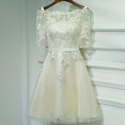 Lovely Straight Neckline Off Shoulder Half Sleeve Lace Tulle Homecoming Dresses, HD034