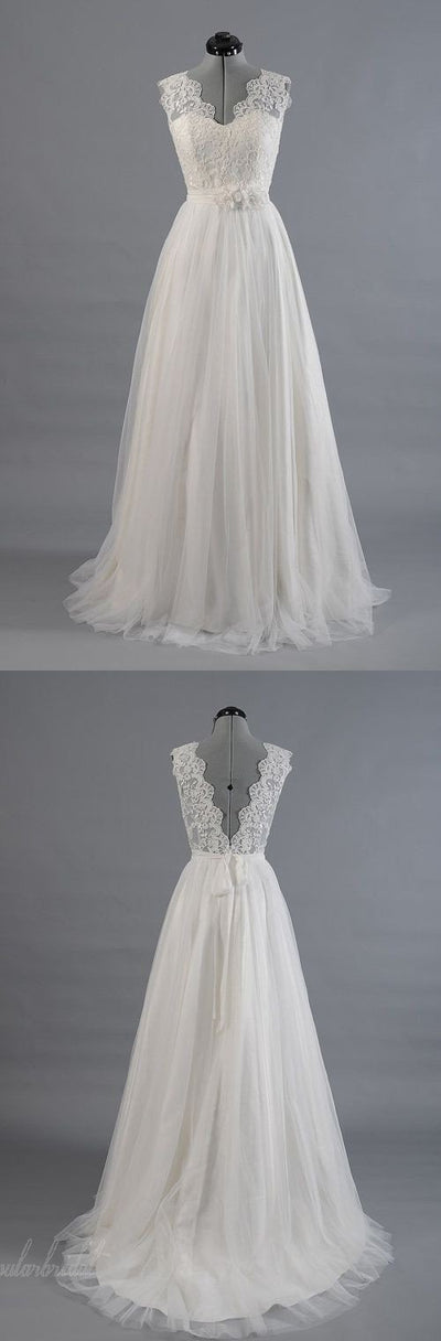 Best Sale Vintage V-Back Lace Top Simple Design Wedding Party Dresses, BG0167