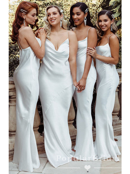 Mermaid Spaghetti Straps Illusion White Cheap Long Bridesmaid Dresses With Cross Back,POWG0036