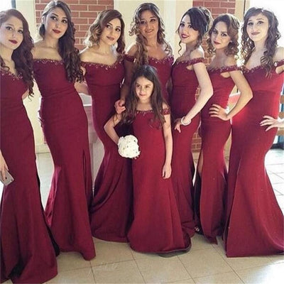 Maroon Off Shoulder Long Mermaid Side Slit Beaded Bridesmaid Dresses, BG0066