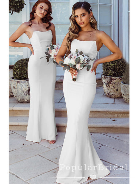 Alluring Mermaid Strapless White Cheap Floor Length Bridesmaid Dresses,POWG0037