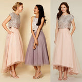 Pretty Two Pieces Cap Sleeve Sequin Top Organza Long Bridesmaid Dresses Cheap Prom Dresses, BG0108