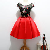 Black Top Cap Sleeve Appliques Red Satin Vintage Homecoming Dresses, HD037
