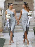 Mermaid One Shoulder Gray Tea Length Bridesmaid Dresses With Pleats,POWG0038