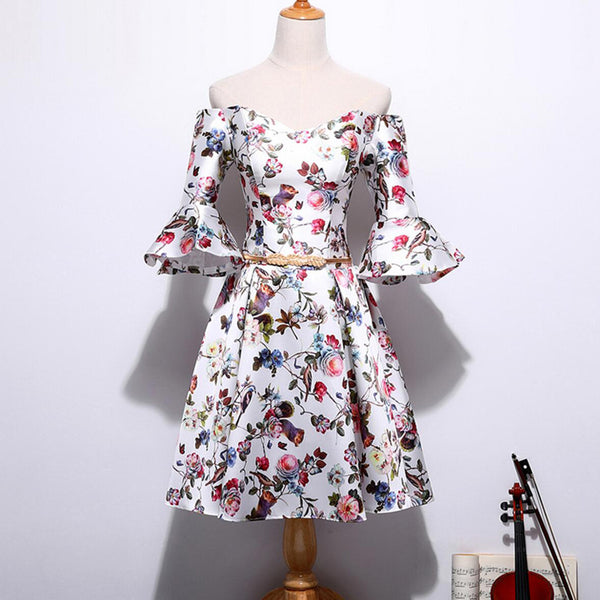 Off Shoulder Half Sleeve Elegant Print Flower Satin Homecoming Dresses, HD038