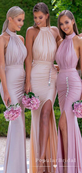 Mermaid High Neck Split Side Beaded Cheap Long Bridesmaid Dresses With Pleats,POWG0039