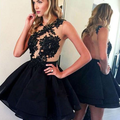 Black Lace Beaded Open Back A-line Organza Homecoming Dresses, Little Black Dresses, HD039