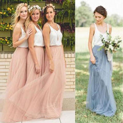 Popular Cheap Junior Off Shoulder Scoop Neck White Blush Pink Tulle Long Bridesmaid Dresses, BG0103