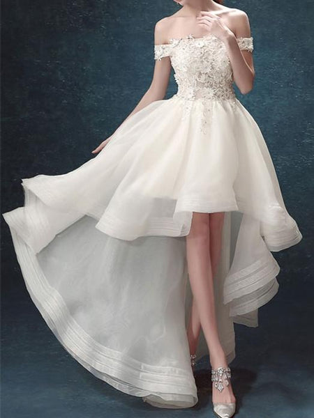 Off-shoulder Lace Top Tulle Hem Elegant Homecoming Dresses Short Front Long Back, HD113