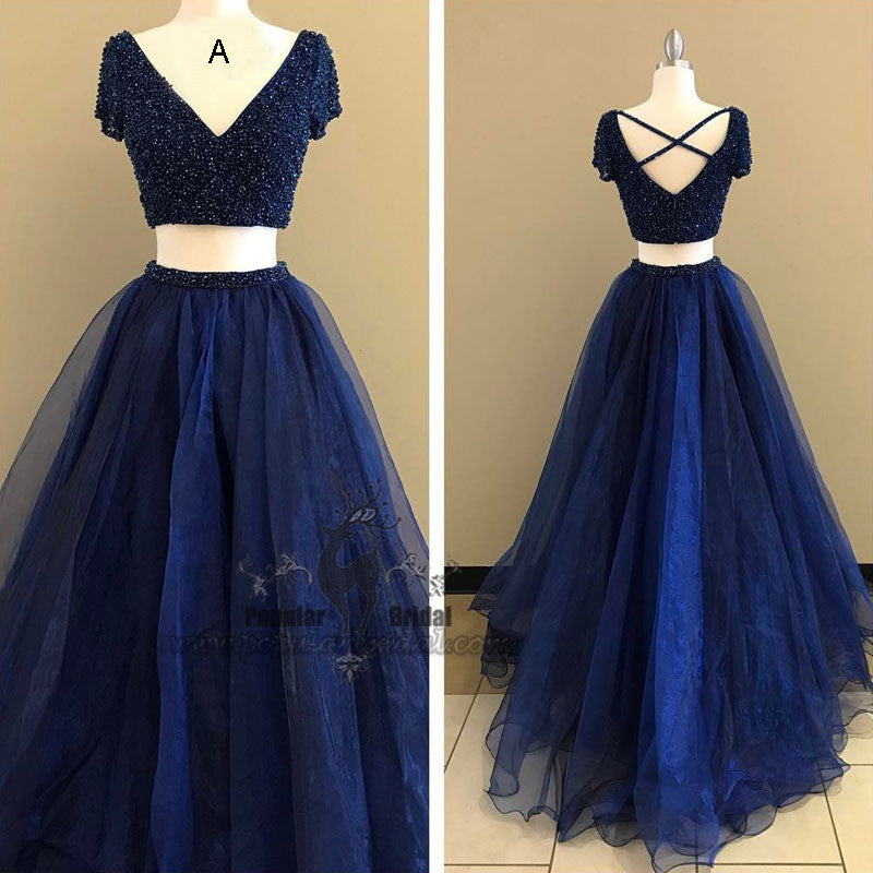 Cap Sleeve Beaded 2 pieces Tulle Pretty Prom Dresses, V-neck Prom ...