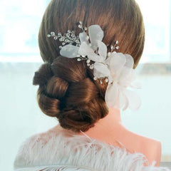 White Flower Wedding Headpieces With Beads, Wedding Headpieces, Wedding Accessories, VB0668