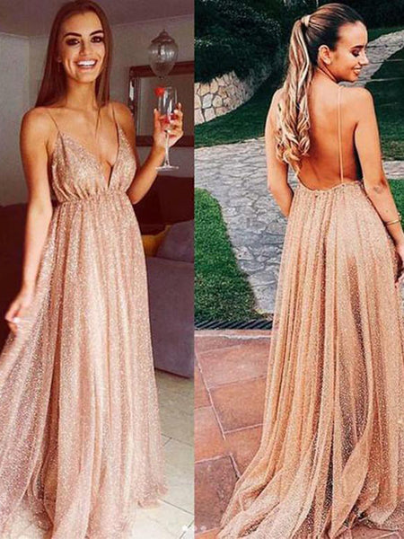 Sexy V-neck Spaghetti Straps Backless Evening Dresses,Cheap Prom Dresses,PDY0630